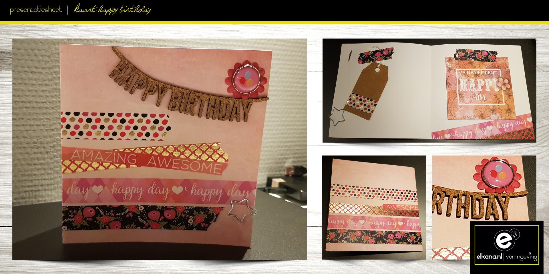 Verjaardagskaart roze