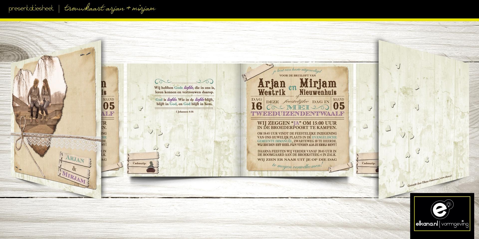 Trouwkaart Arjan & Mirjam