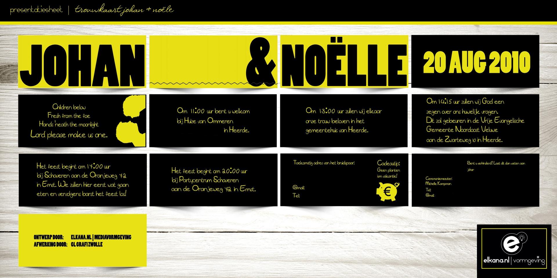 Trouwkaart Johan & Noelle