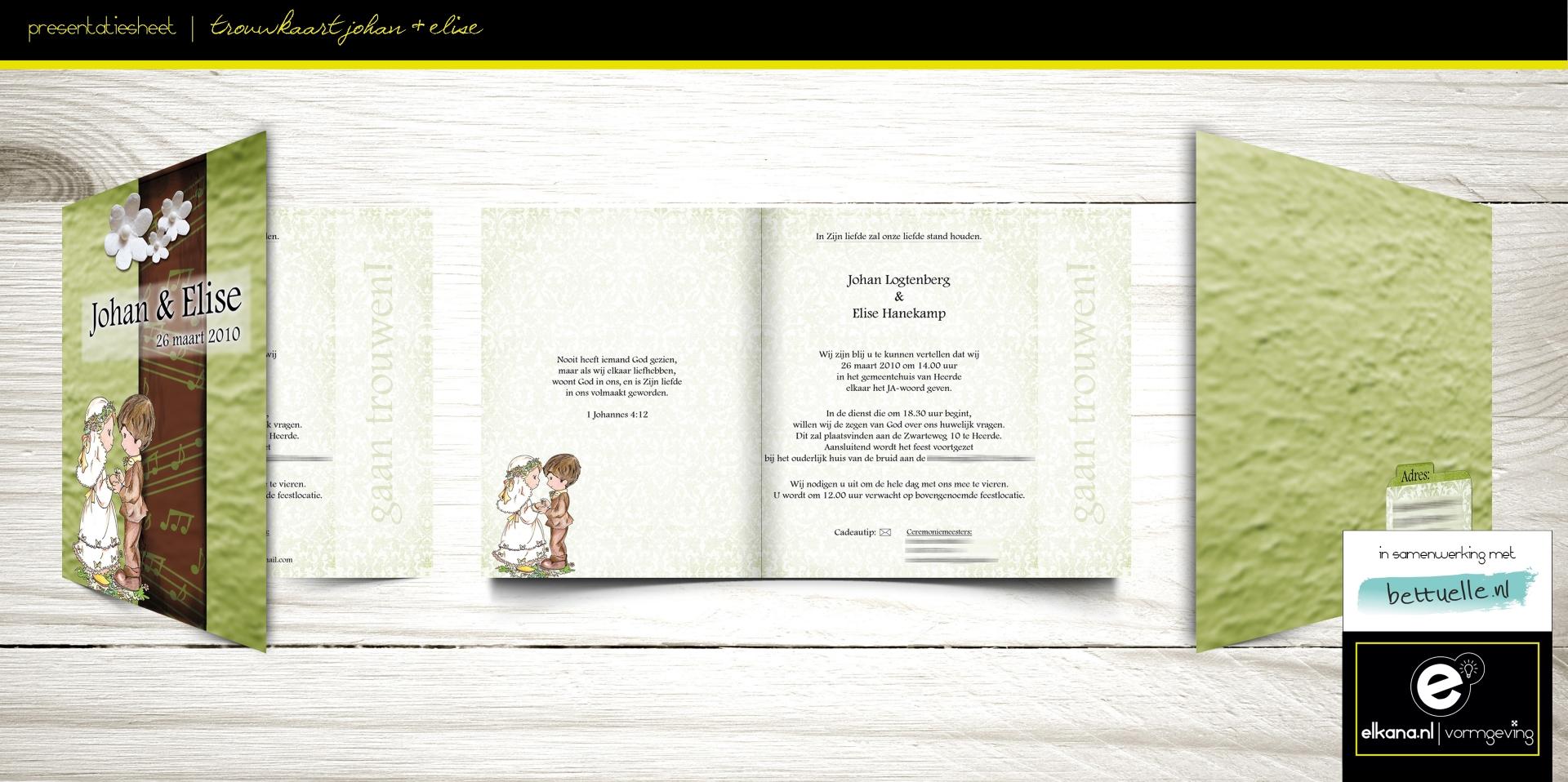 Trouwkaart Johan & Elise – Bettuelle
